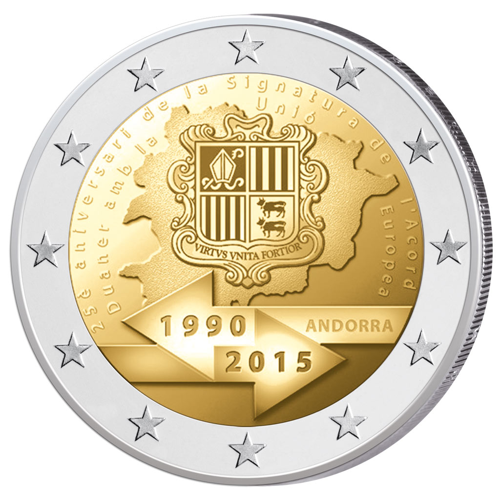 2 euro comm morative d 39 andorre 2015 25e anniversaire de la signature de l accord douanier avec. Black Bedroom Furniture Sets. Home Design Ideas