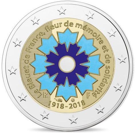 2 Euro Commémorative De France 2018 Bleuet De France Fleure De