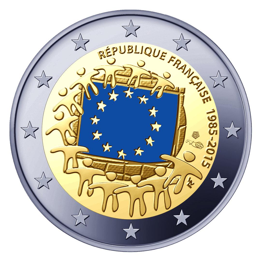 2 euro comm morative de france 2015 30 ans du drapeau de l 39 union europ enne. Black Bedroom Furniture Sets. Home Design Ideas