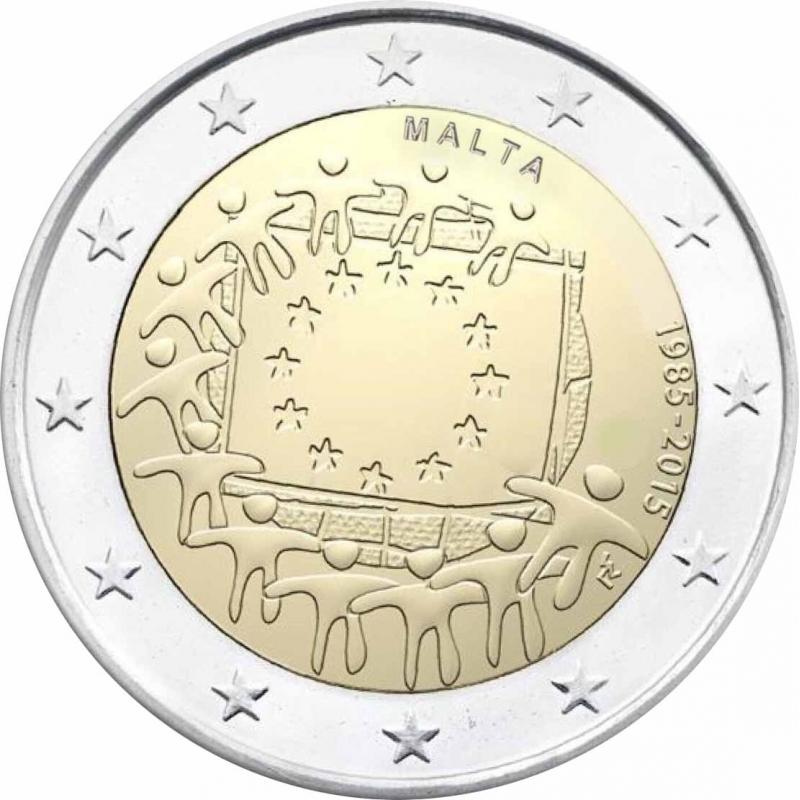 2 Euro commémorative de Malte 2015, 30 Ans du Drapeau de l'Union Européenne